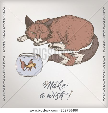 Romantic vintage birthday color card template with calligraphy, cat and goldfish sketch. Great for holiday design.