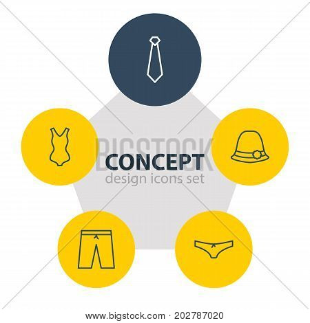 Editable Pack Of Cravat, Panties, Swimming Trunks And Other Elements.  Vector Illustration Of 5 Dress Icons.