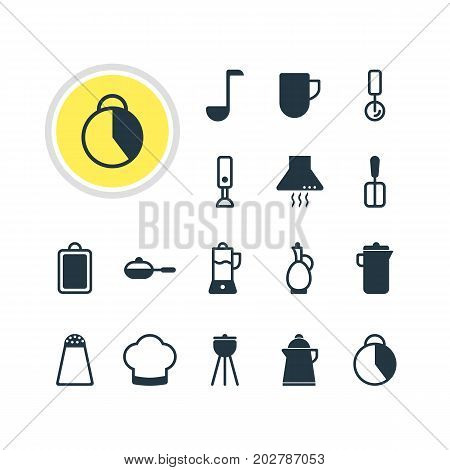 Editable Pack Of Pepper Container, Mixer, Timekeeper And Other Elements.  Vector Illustration Of 16 Restaurant Icons.