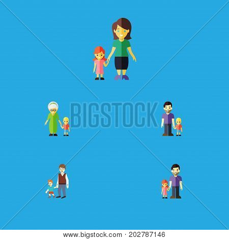 Flat Icon Relatives Set Of Grandma, Father, Son Vector Objects
