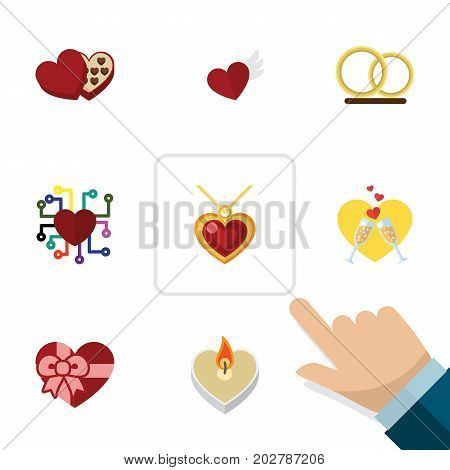Flat Icon Amour Set Of Celebration, Fire Wax, Necklace And Other Vector Objects