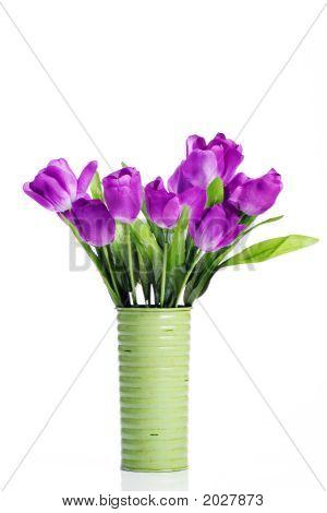 Purple Tulips In Green Vase