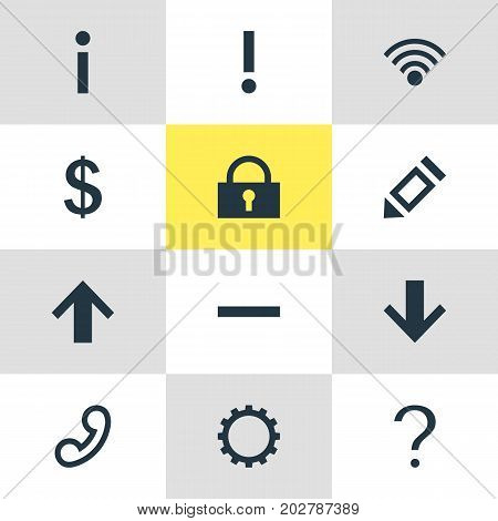 Editable Pack Of Minus, Cordless Connection, Cogwheel And Other Elements.  Vector Illustration Of 12 Member Icons.