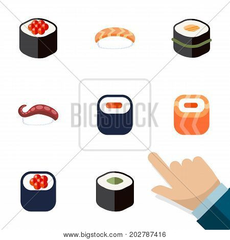Flat Icon Maki Set Of Maki, Sashimi, Japanese Food And Other Vector Objects