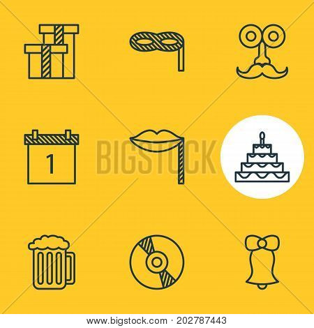 Editable Pack Of Draught, Masquerade, Date Block And Other Elements.  Vector Illustration Of 9 Banquet Icons.