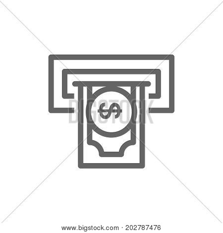 Simple insert credit card and bank ATM line icon. Symbol and sign vector illustration design. Editable Stroke. Isolated on white background