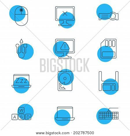 Editable Pack Of Qwerty Board, Keyboard, Laptop And Other Elements.  Vector Illustration Of 12 Notebook Icons.