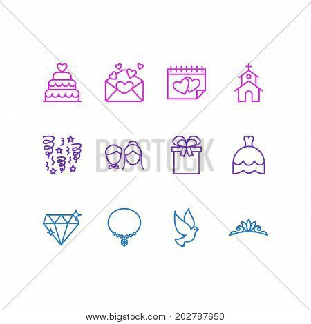 Editable Pack Of Pigeon, Building, Decoration And Other Elements.  Vector Illustration Of 12 Engagement Icons.