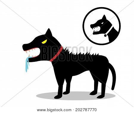 Rabid dog in flat style and icon vector design