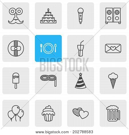 Editable Pack Of Sundae, Heart Letter, Man Style And Other Elements.  Vector Illustration Of 16 Party Icons.