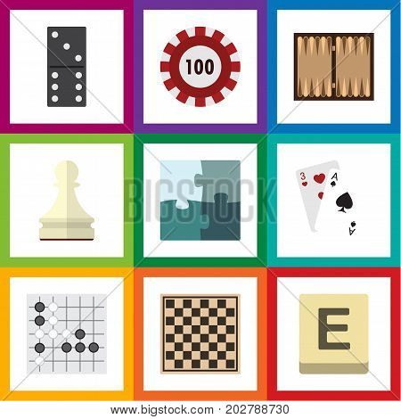 Flat Icon Entertainment Set Of Jigsaw, Pawn, Poker And Other Vector Objects