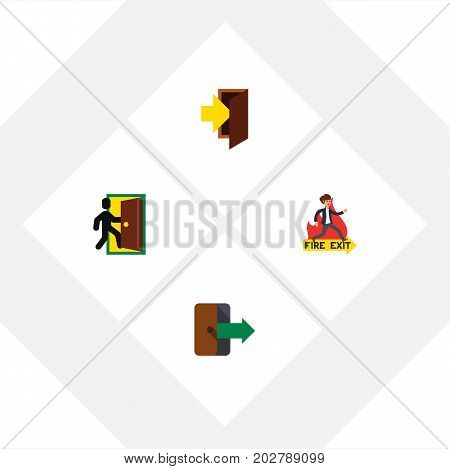 Flat Icon Exit Set Of Emergency, Evacuation, Directional And Other Vector Objects