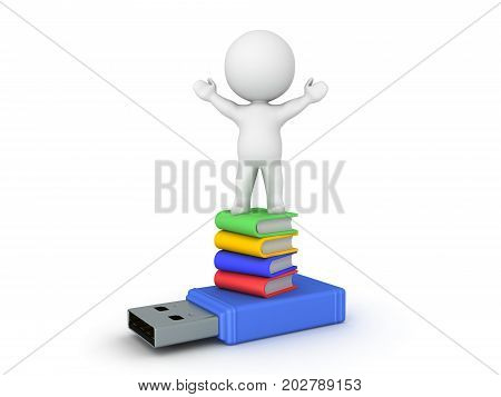 3D Character sitting on top of stack of book and usb stick. Isolated on white.