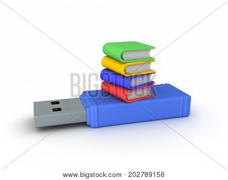 3D illustration of a stack of book on top of a giant USB stick. Isolated on white.