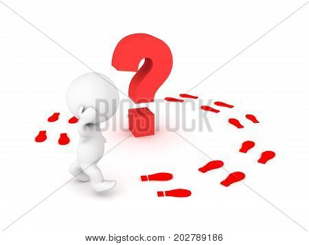 3D Character walking in circles around a question. Isolated on white.