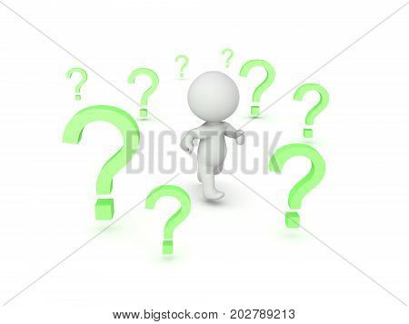 3D Character running through question marks. Isolated on white.