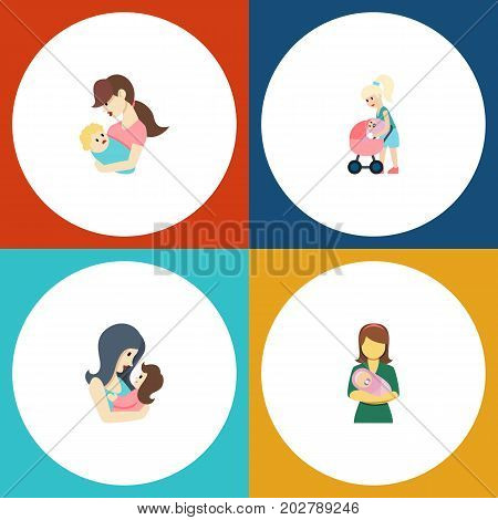 Flat Icon Mam Set Of Newborn Baby, Child, Mother And Other Vector Objects
