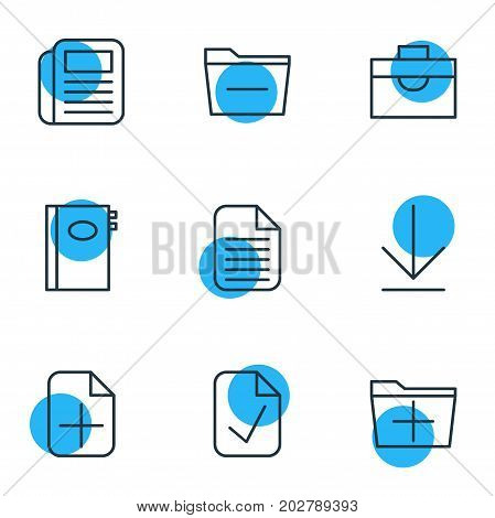 Editable Pack Of Plus, Deleting Folder, Portfolio And Other Elements.  Vector Illustration Of 9 Bureau Icons.
