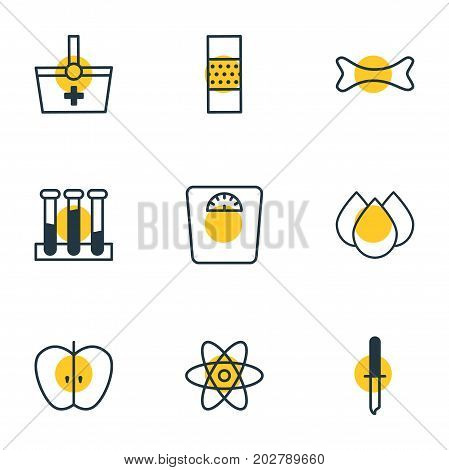 Editable Pack Of Weighing, Molecule, Osseous And Other Elements.  Vector Illustration Of 9 Health Icons.