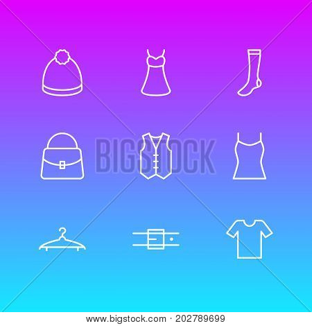 Editable Pack Of Handbag, Hosiery, Cloakroom Elements.  Vector Illustration Of 9 Garment Icons.