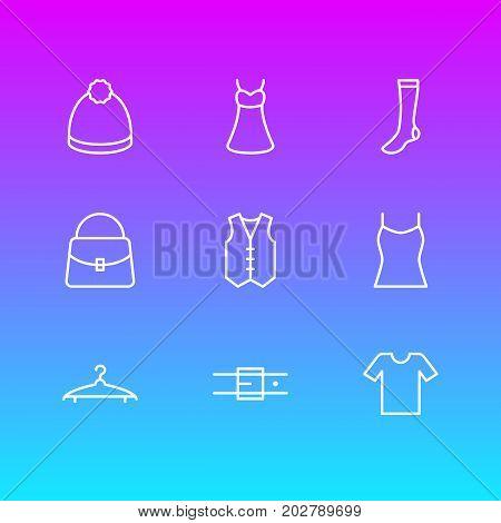 Editable Pack Of Handbag, Hosiery, Cloakroom Elements.  Vector Illustration Of 9 Garment Icons.