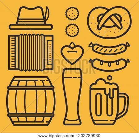 Contour of icons on theme of beer holiday: bottle and glass of beer, sausages, barrel, pretzel, gingerbread. Welcome to beer festival.