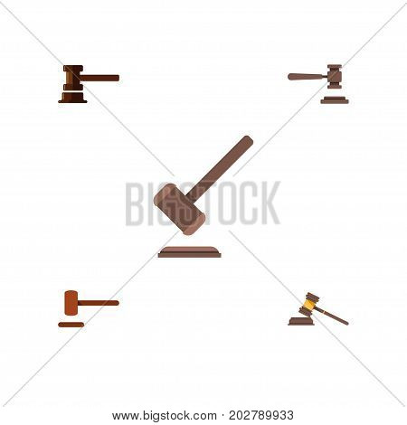 Flat Icon Court Set Of Legal, Defense, Tribunal And Other Vector Objects
