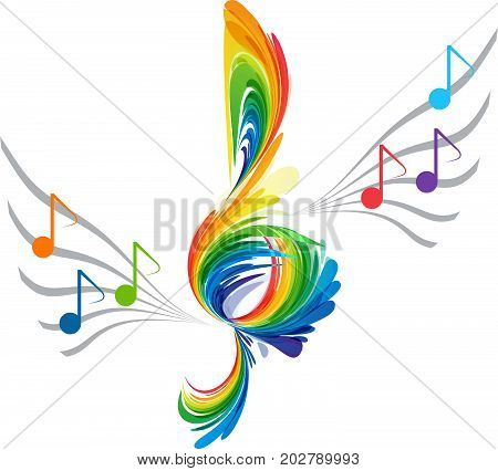 Treble clef and musical notes, rainbow colors splash