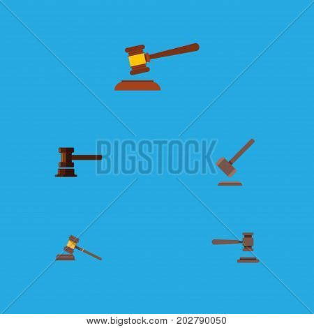 Flat Icon Lawyer Set Of Court, Tribunal, Hammer And Other Vector Objects