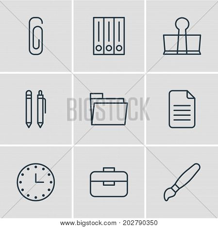 Editable Pack Of Archive, Watch, Dossier And Other Elements.  Vector Illustration Of 9 Tools Icons.