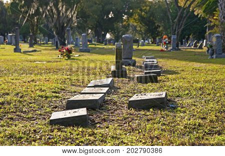 Crypts and tombs at a local cemetery, Tampa Bay Florida, USA.
