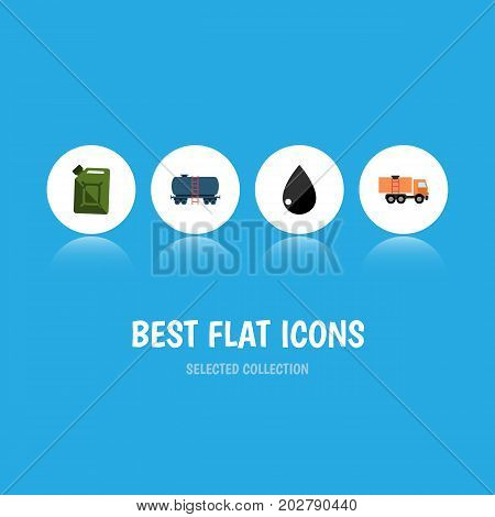 Flat Icon Fuel Set Of Droplet, Fuel Canister, Van And Other Vector Objects