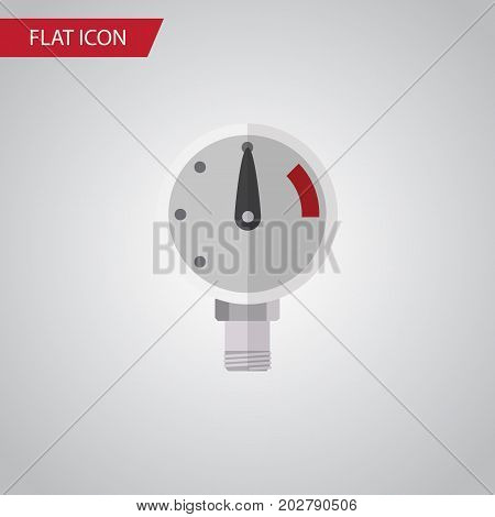 Pressure Vector Element Can Be Used For Manometer, Pressure, Scale Design Concept.  Isolated Manometer Flat Icon.