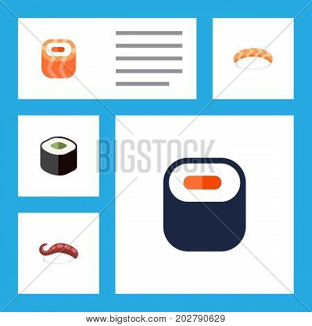Flat Icon Maki Set Of Maki, Sashimi, Salmon Rolls And Other Vector Objects