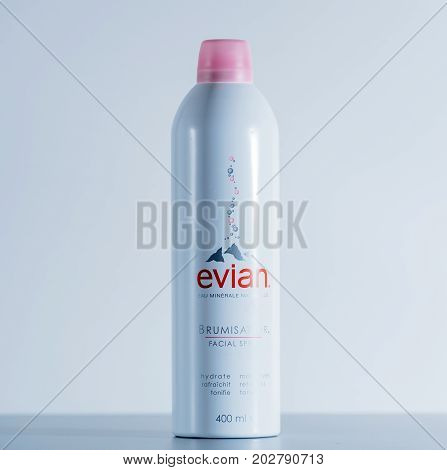 PARIS FRANCE - JUL 30 2017: Soothing Refreshing Water for sensitive skin used to induce immediate confort and freshnes on warm day produced by Evian France