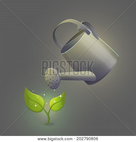 Illustration of watering can pot pouring liquid hydrating ground around the green fresh sprout sparkling flower with leaves. Isolated vector object.