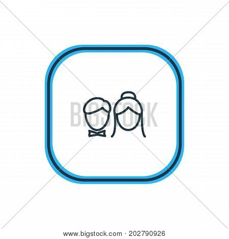 Beautiful Engagement Element Also Can Be Used As Couple Element.  Vector Illustration Of Just Married Outline.