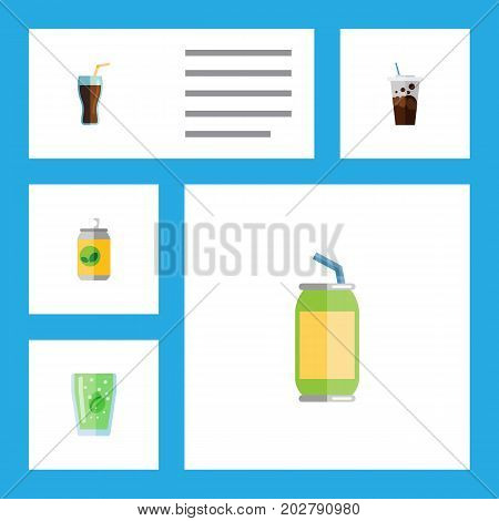 Flat Icon Drink Set Of Cup, Carbonated, Beverage And Other Vector Objects