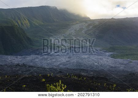 Old Lava Flow And Crater Of Fournaise Volcano At Reunion Island