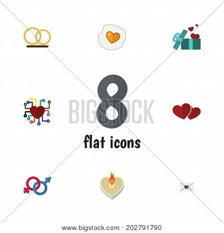 Flat Icon Amour Set Of Gift, Ring, Sexuality Symbol And Other Vector Objects