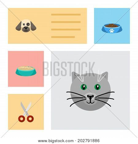 Flat Icon Pets Set Of Shears, Puppy, Kitty And Other Vector Objects