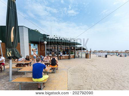 Golden Sands, Bulgaria - August 10, 2016: McDonald's restauraunt at the beach Golden Sands. The McDonald's Corporation is the world's largest chain of hamburger fast food restaurants.