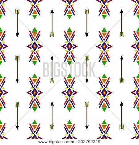 Seamless geometric ethnic traditional Native American Indian Navajo vector pattern vintage retro background colorful design with tribal ornaments and arrows