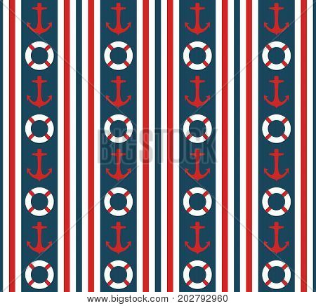 Seamless nautical vertical stripes pattern vector with anchors and life buoys marine background colorful vintage retro design