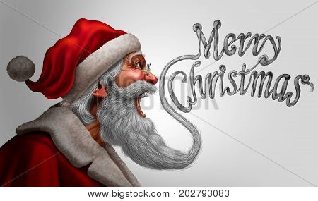 Santa claus merry christmas greetings card promotion as a saint nick beard shaped as a happy seasonalk winter message of joy with 3D illustration elements.