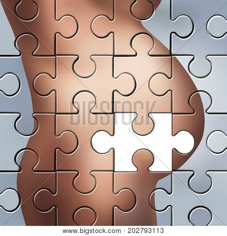 pregnancy solution and child birth challenge as a pregnant woman tummy as a puzzle with a missing piece in a 3D illustration style.