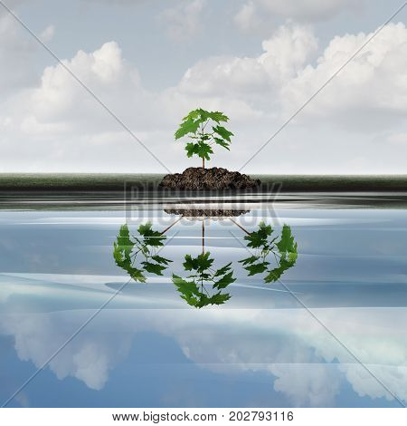 Future growth business concept as a sapling tree with a reflection of multiple plants as a symbol for expansion or growing corporate marketing symbol with 3D illustration elements.