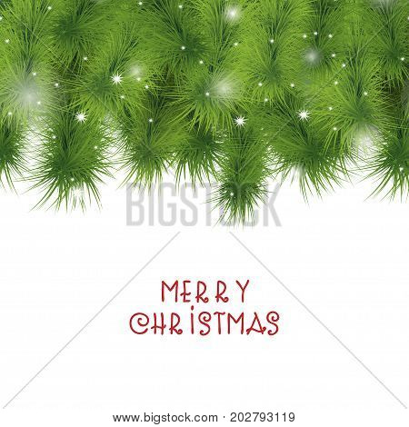 Christmas tree branches border. Sparkling lights falling shiny snowflakes. Evergreen fir twigs background for Christmas and New Year design.