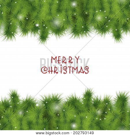 Christmas tree branches border. Sparkling lights falling shiny snowflakes. Evergreen fir twigs background for Christmas and New Year design. Card template