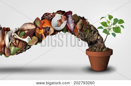 Compost and composting symbol life cycle symbol and an organic recycling stage system concept as a pile of rotting food scraps with soil resulting in a ecological success with a sapling growing in a pot with 3D illustration elements..
